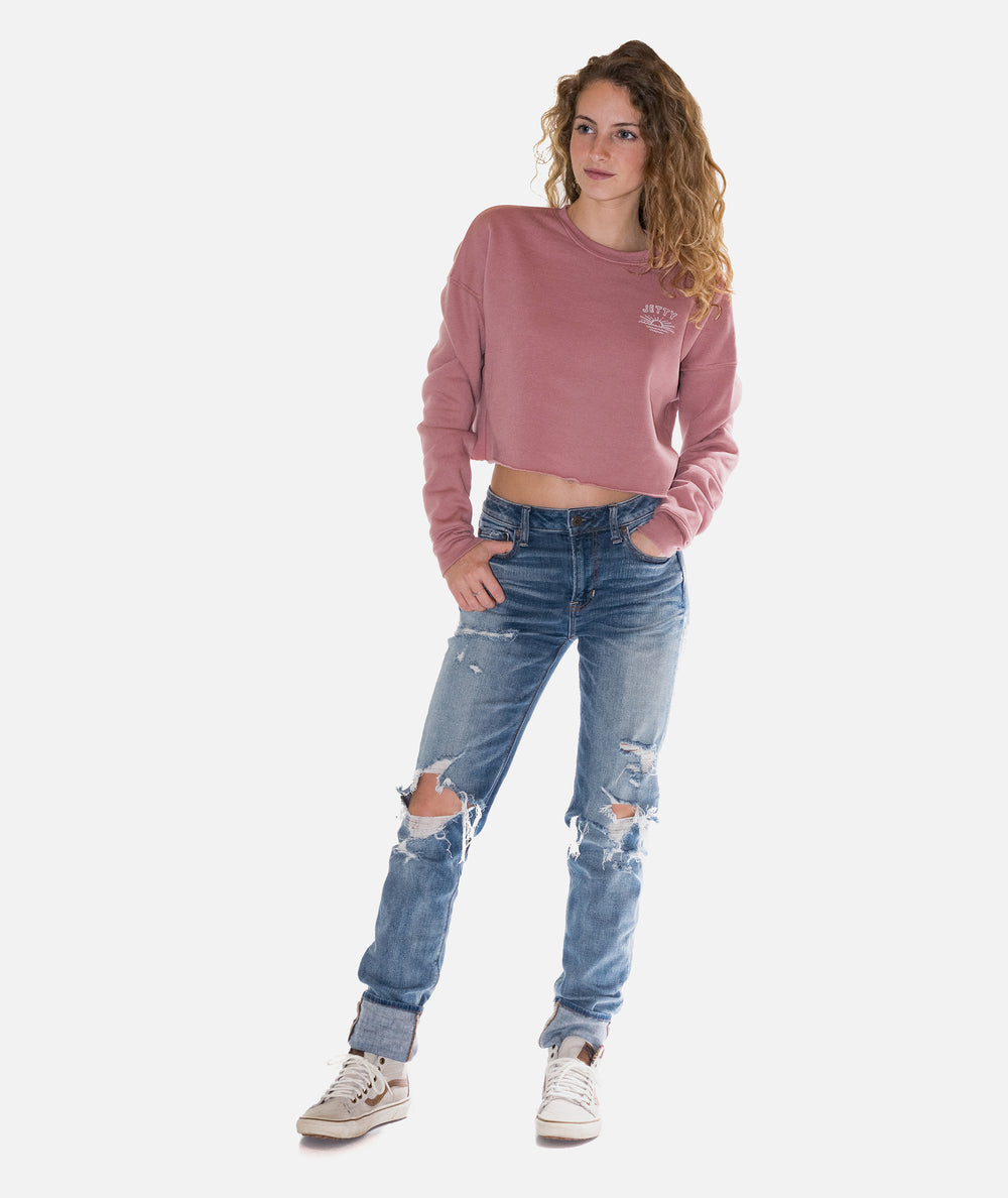 Jetty - Daybreak Crop Crew Fleece- Mauve
