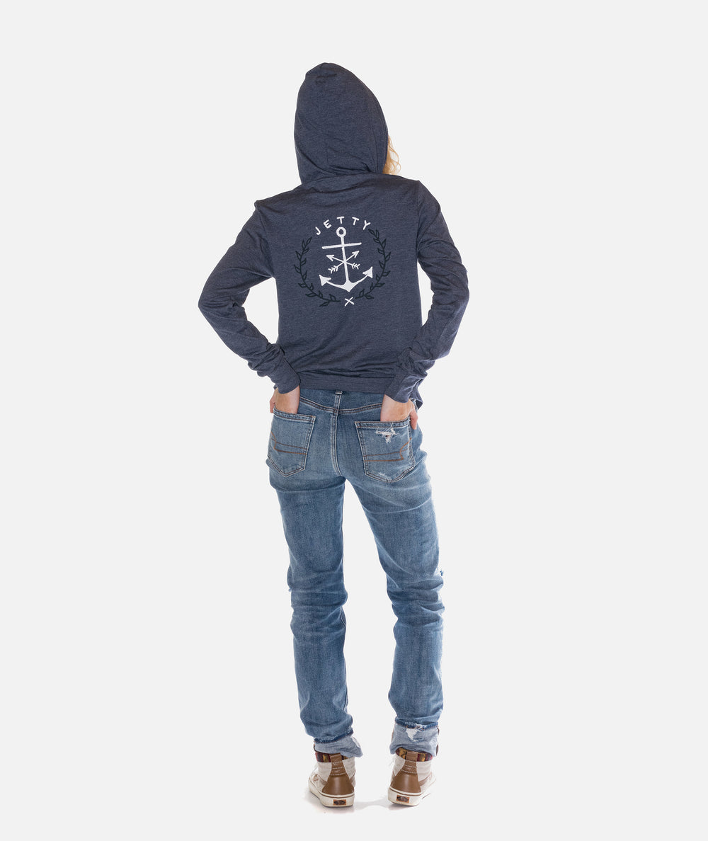 Jetty - Bow Anchor Hooded Tee- Navy Heather