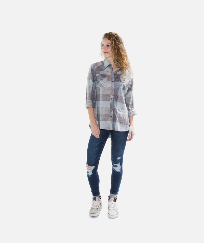 Tellulah Flannel Top- Heather Grey