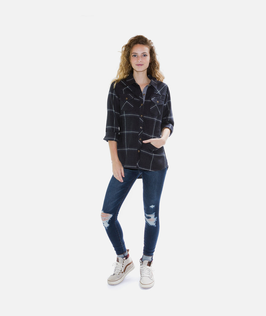 Tellulah Flannel Top- Black