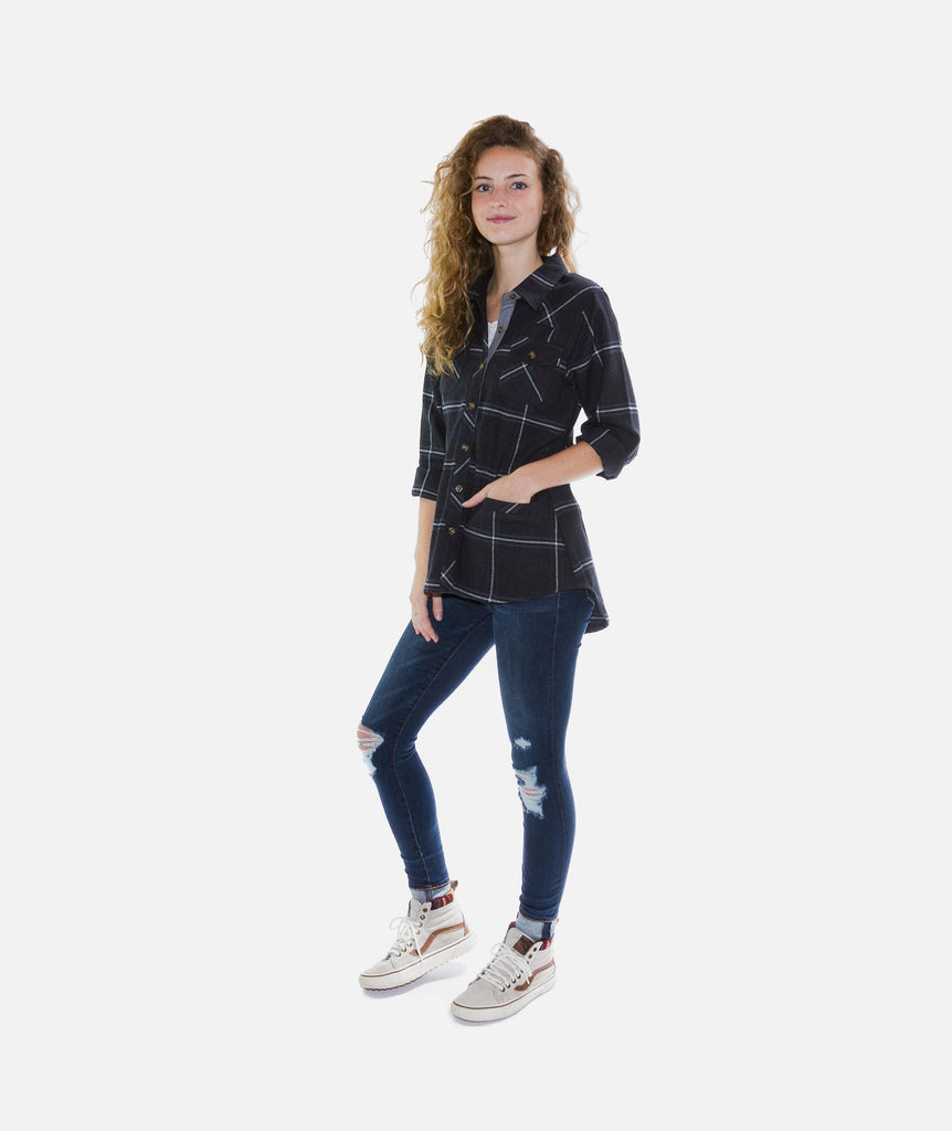 Jetty - Tellulah Flannel Top- Black