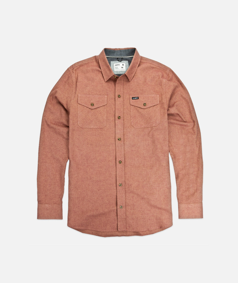Jetty - Stroke Twill Shirt- Salmon