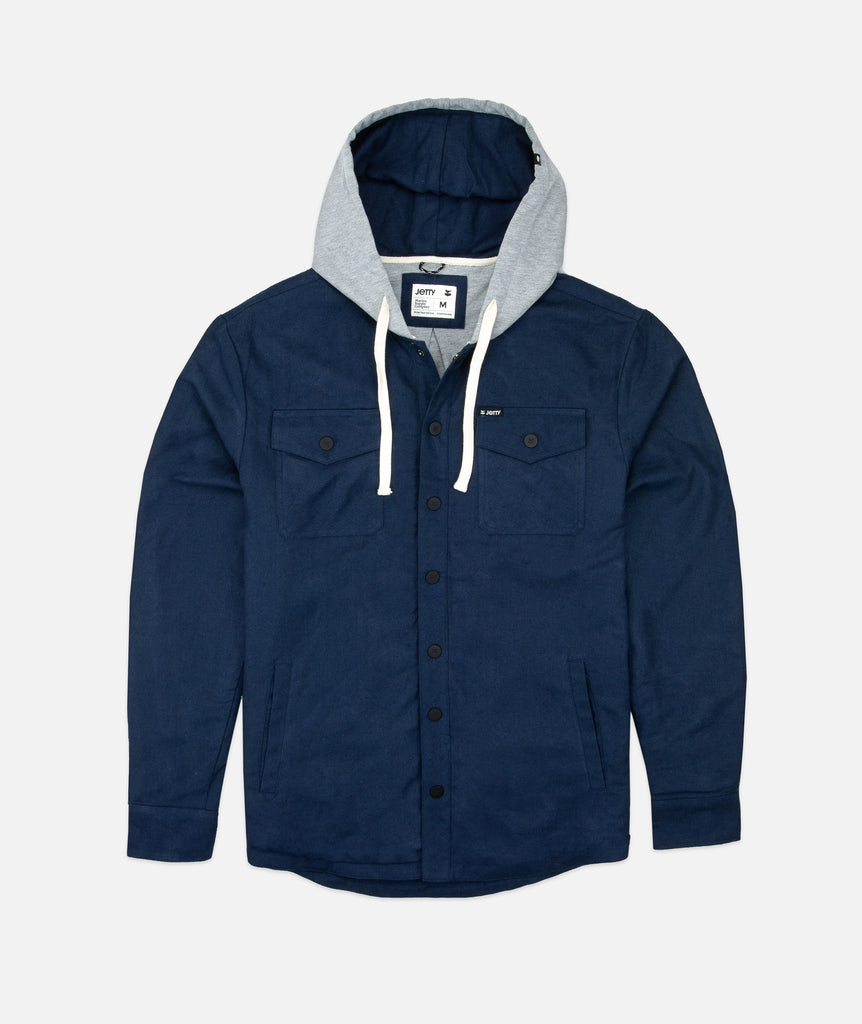 Jetty - Mayfly Hooded Flannel Jacket- Indigo