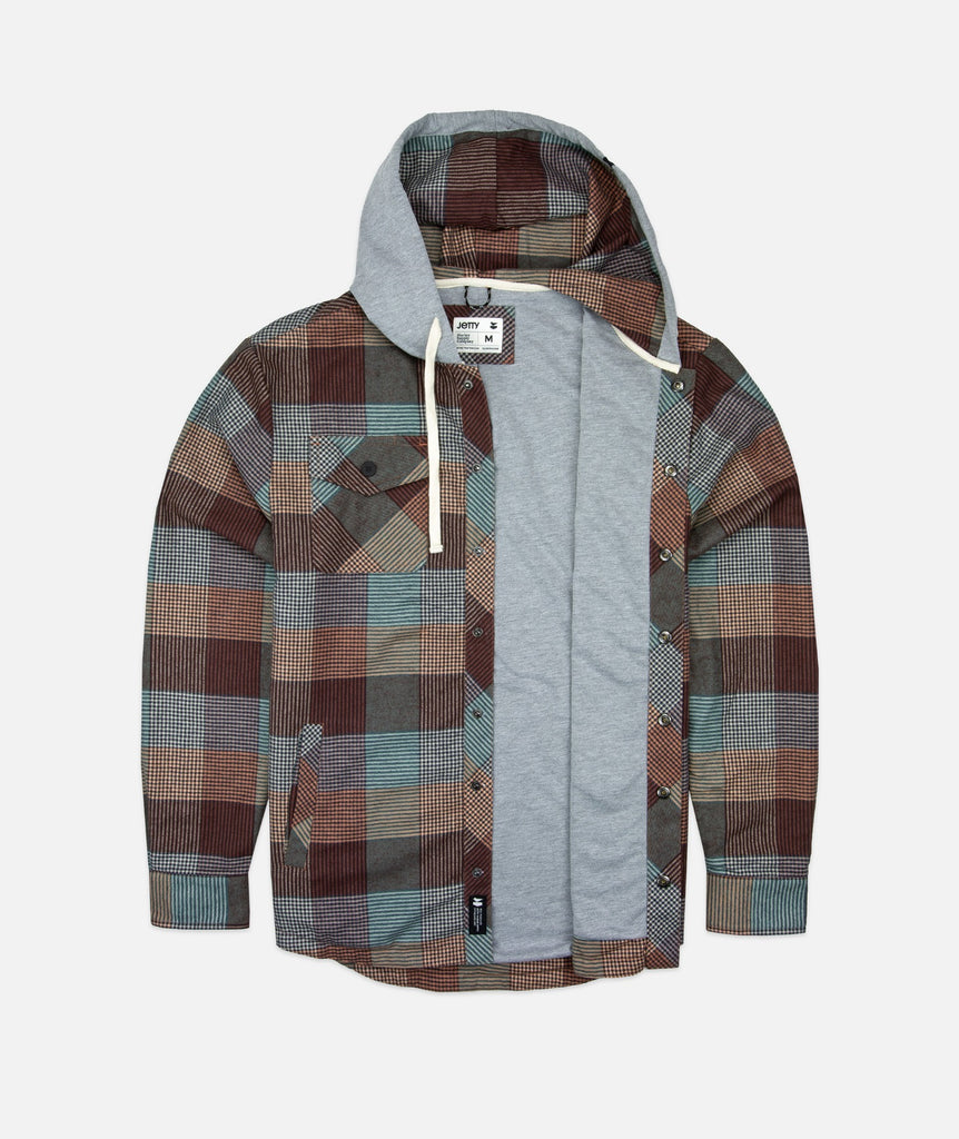 Mayfly Hooded Flannel Jacket- Rust