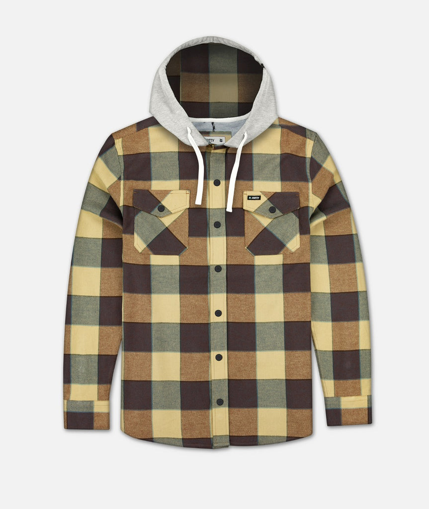 Mayfly Hooded Flannel Jacket - Chestnut