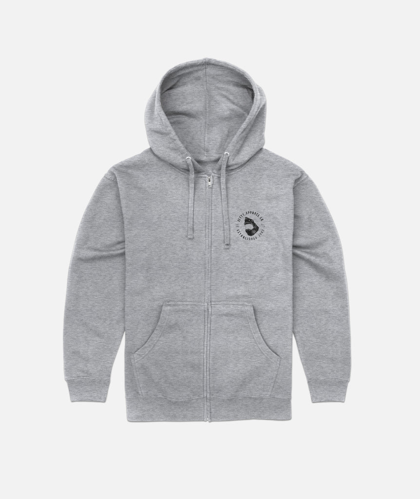Shark Attack Zip-Up- Heather Grey
