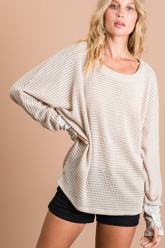 Sandstone Waffle-Knit Top