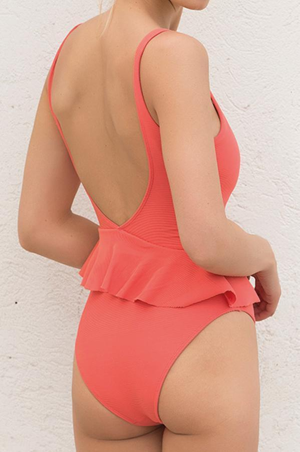 Coral Dream Ruffle One Piece