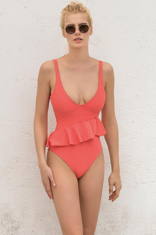 Coral Dream Ruffle One Piece - Iridescent Swimwear Boutique