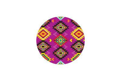 Tempered Glass Round Cutting Board featuring Pink Navajo Pattern