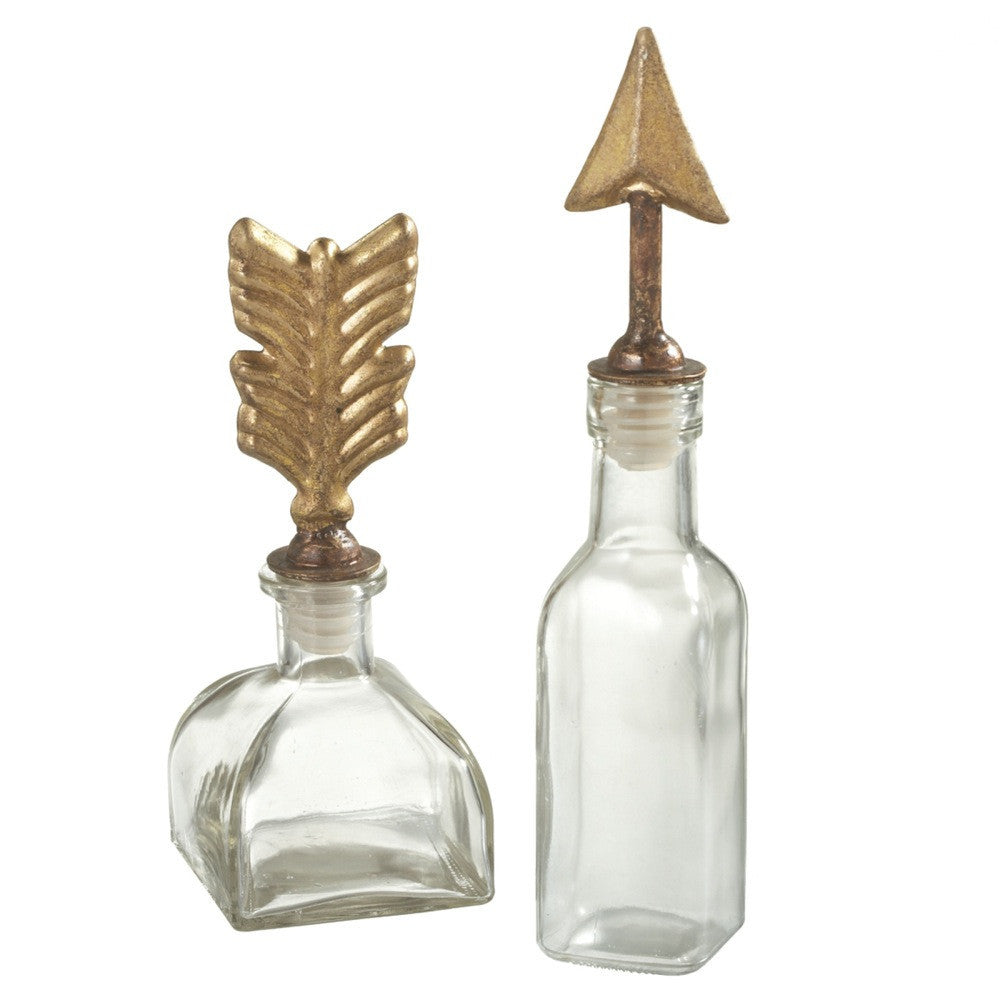 Set Of Two Glass Bottles With Arrow And Fletching  Gold