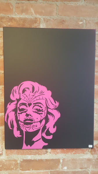 "Marilyn Monroe Sugar Scull ""Chola"" Spray painted canvas 24"" x 18"""