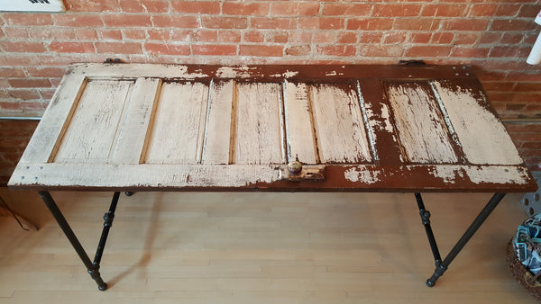 Handmade Table made from Reclaimed Farm Door feat Wrought Iron Pipe Table Legs