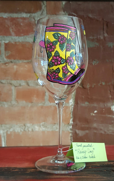 """Rainy Day"" Hand Painted Wine Glass-Red"