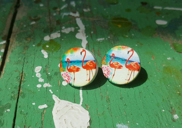 Wood Flamingo Studs