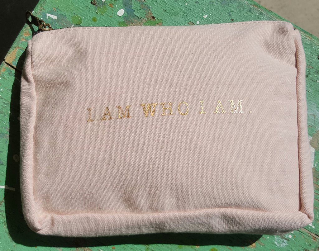 I AM WHO I AM Canvas Pouch- Light Pink