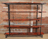 Home Shelving Unit - Large - Authentic Reclaimed Barn Wood & Wrought Iron Pipe.