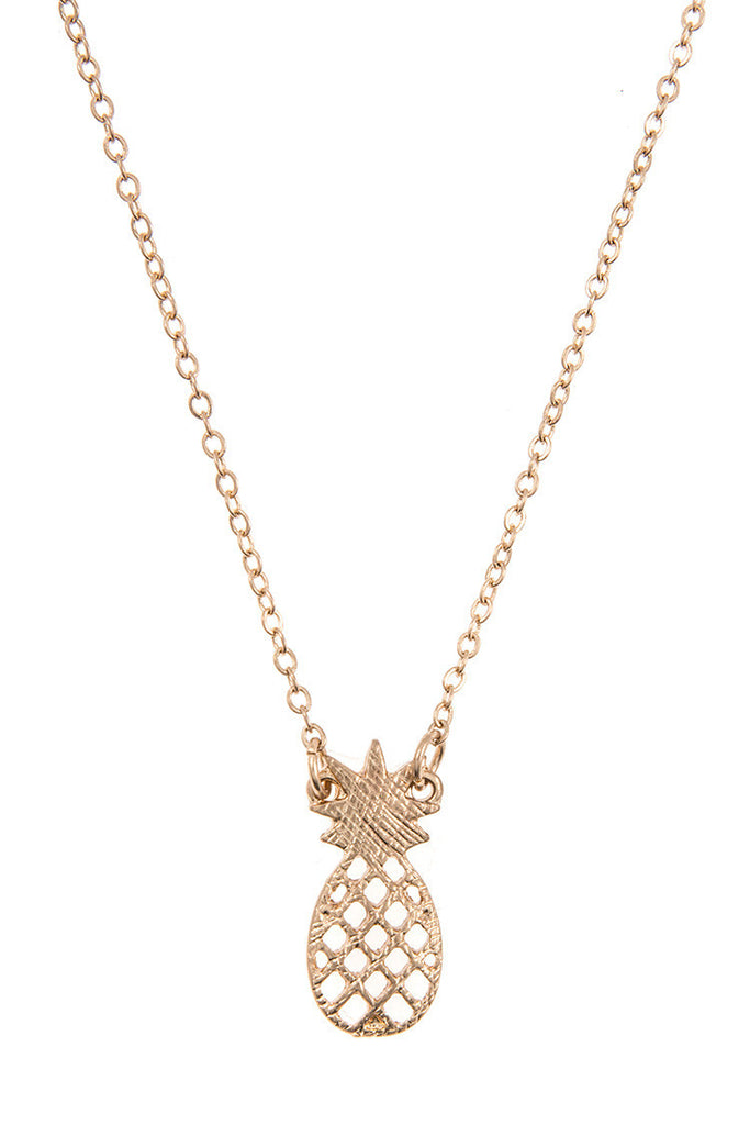 Pineapple Necklace-Worn Gold or Silver