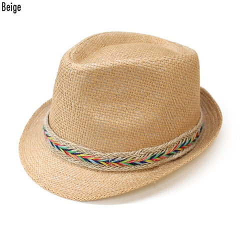 Beige Fedora With Braided Colorful Hatband