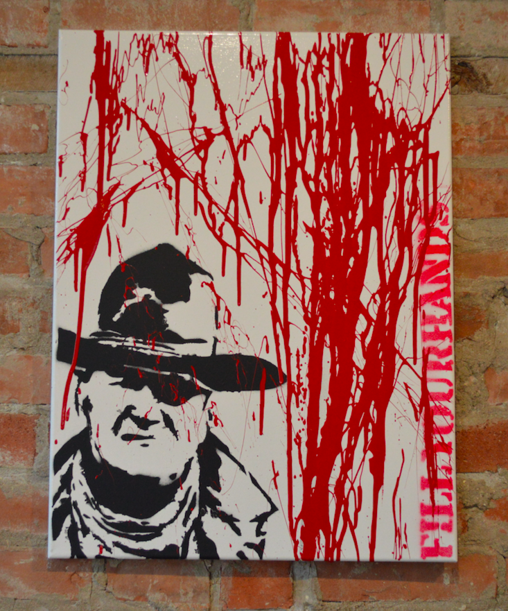 """Rooster"" John Wayne Spray Painted Canvas  24""x18"""