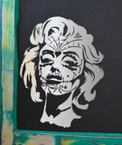 Handmade Hanging Magnetic Chalk Board made from Reclaimed Farm House Door  featuring Marilyn Monroe Image
