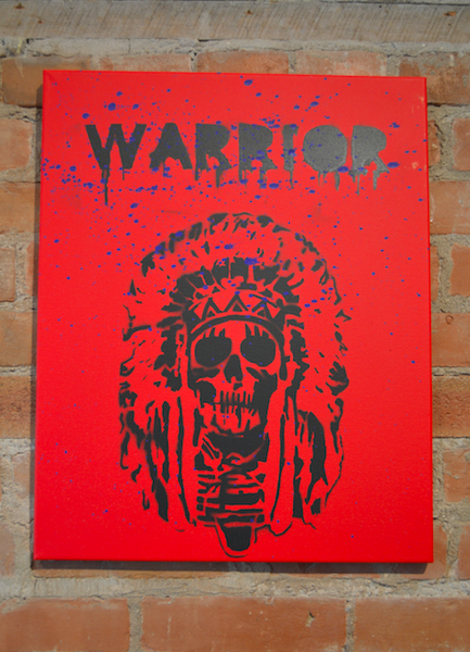 """Warrior"" Skeleton Wearing Head-dress  20""x16"""
