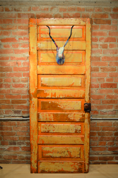 Salvaged Farm House Door featuring Hand Painted Faux Stag Head Mount