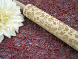 Embossed Rose & Skull Wood Rolling Pin