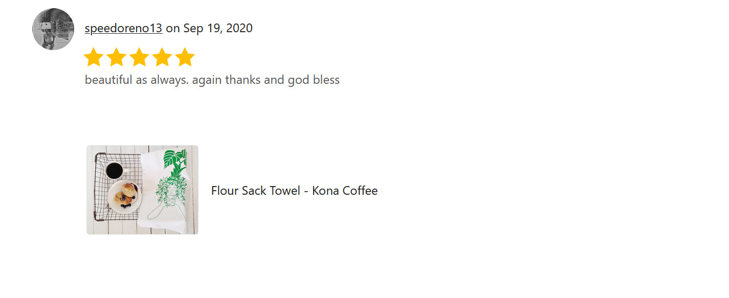 "The Review of Art Mina Tea Towel ""Kona Coffee"""