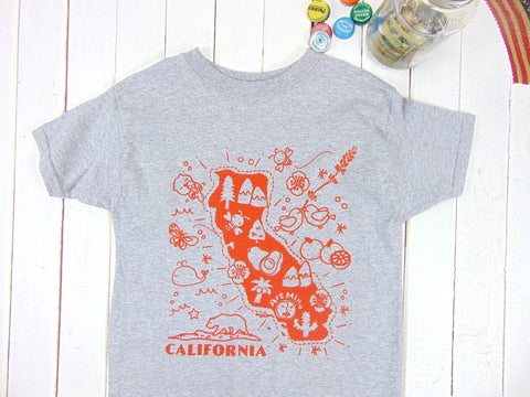 "Youth Kids Tee ""Kawaii! California Map"" [Free Shipping]"
