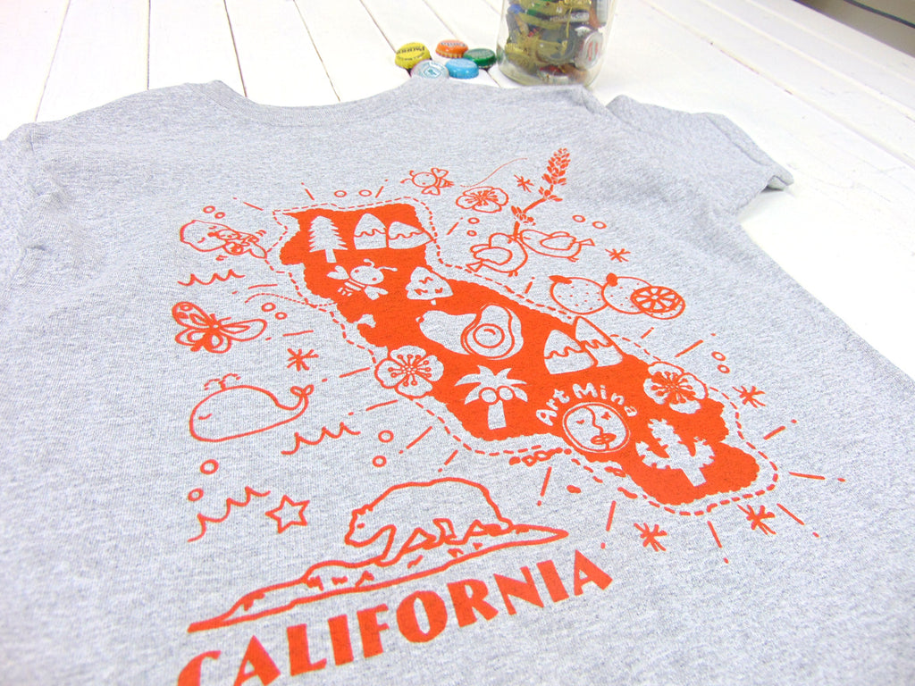 Map Of California Funny.Kids Tee Kawaii California Map