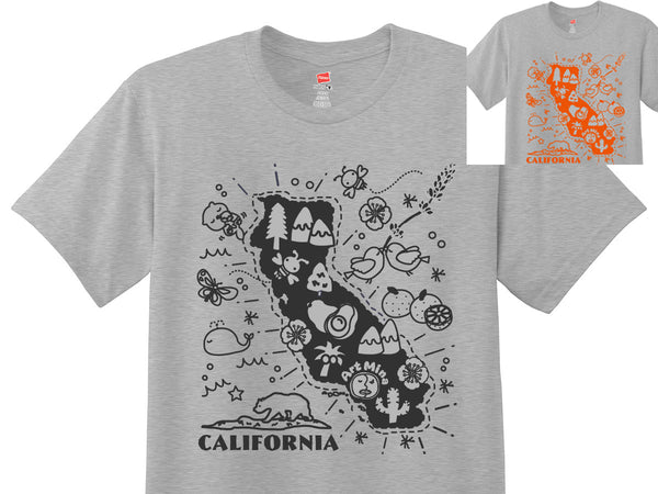 "Soft Unisex Tee ""California Map"" Up to 3XL"