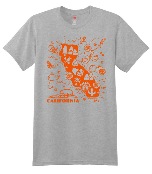 "Art Mina Soft Unisex Tee ""California Map"" Up to 3XL [FREE SHIPPING]"