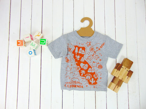 "Toddler Tee ""Kawaii! California Map"""