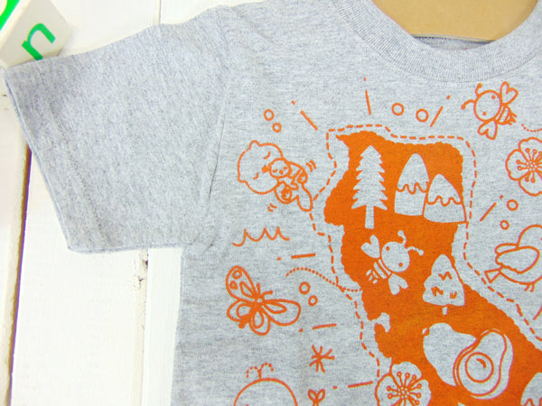 "Todder & Youth Short Sleeve Tee ""Kawaii! California Map""  [Free Shipping]"