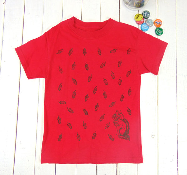 "Kids Tee ""Acorn & Chipmunk"""