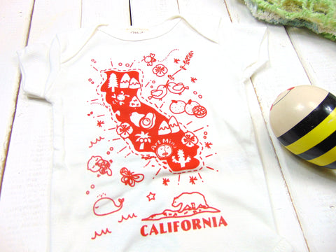 "Art Mina Organic Baby Onesie ""Map of California"""