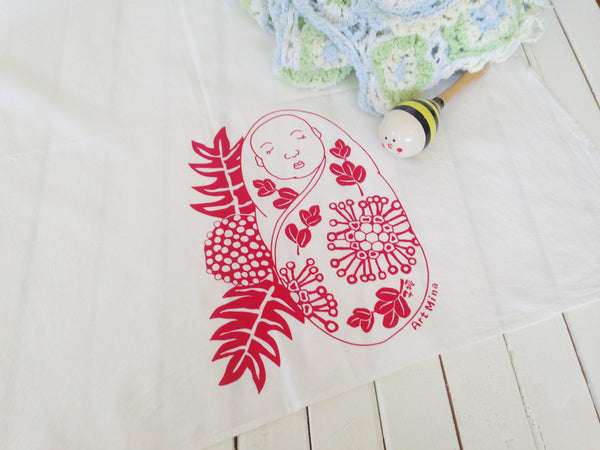 red baby flour sack towel