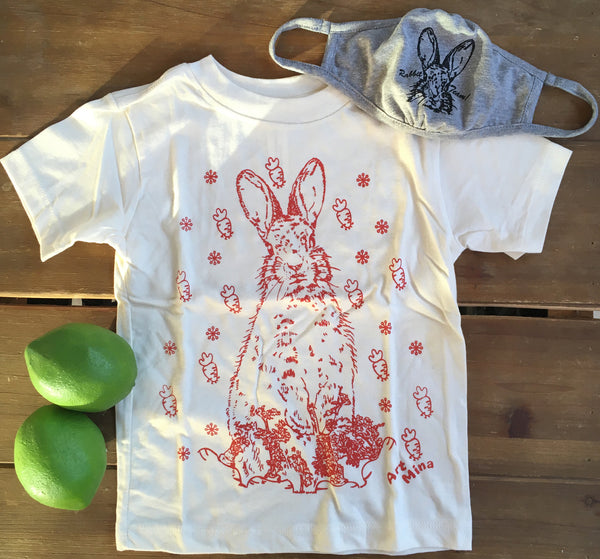 Art Mina [Kids Tee & Face Mask Sets] Bunny Carrot