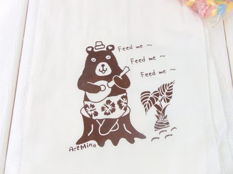"Flour Sack Kitchen Tea Towel ""Molly bear is singing in the Taro Garden"""