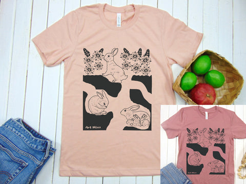 "Art Mina Soft Unisex Tee ""Rabbit Hole"" [T-shirt Color : Heather Peach / Mauve]"