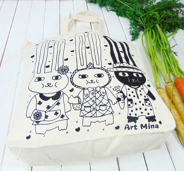 Art Mina Canvas Tote Bag 60's Bunnies