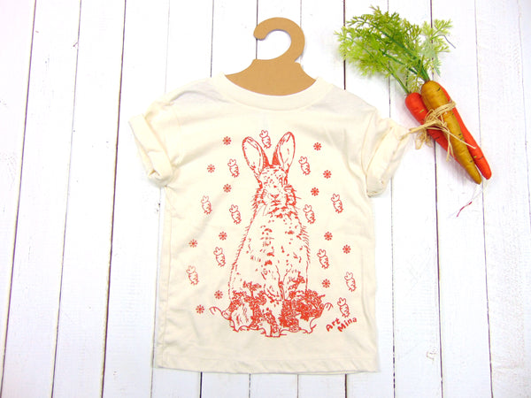 """Carrot Bunny""  Organic Baby Short Sleeve One Piece"
