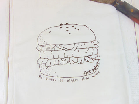 "Flour Sack Kitchen Tea Towel ""My burger is bigger than your burger"""