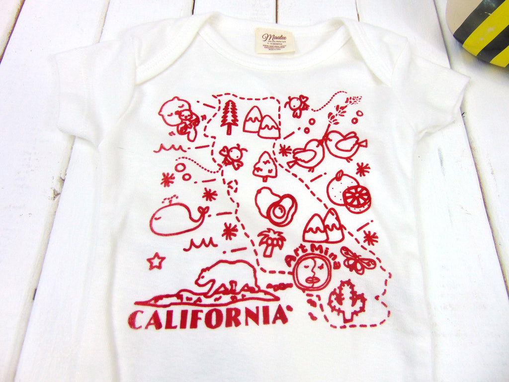 """Art Mina California Map"" Organic Baby Short Sleeve One Piece"