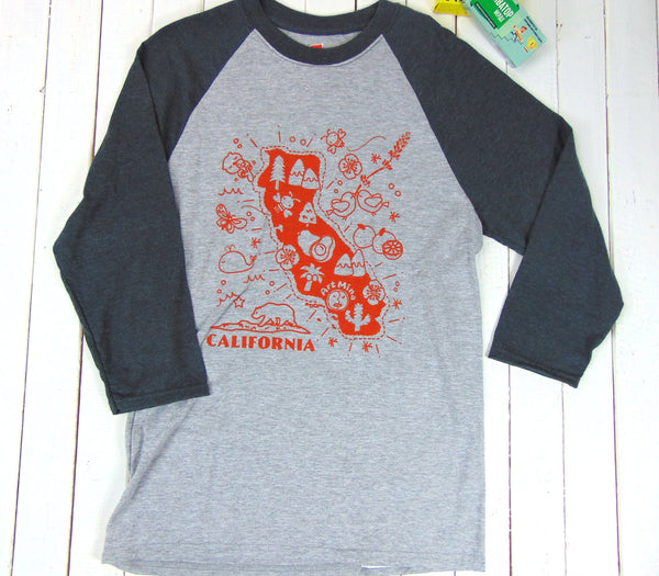 "Art Mina California Map""3/4 Sleeve Baseball Tee"