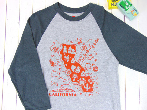 "California Map""3/4 Sleeve Baseball T-shirt"
