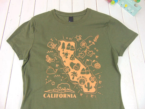 "Kawaii ""Art Mina California Map"" Women's 100 % Cotton Short SleeveT-shirt [ Fatique]"