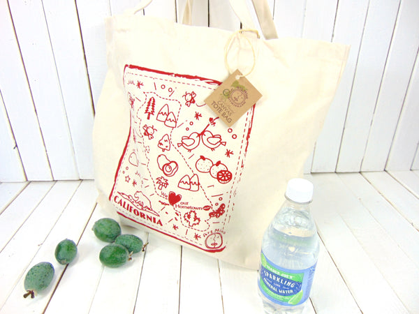"""We love our hometown"" California Jumbo Natural Cotton Canvas Tote Bag"