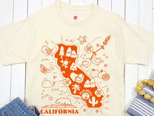 Kawaii! California Map T-shirt. 100 % Cotton Graphic Tee